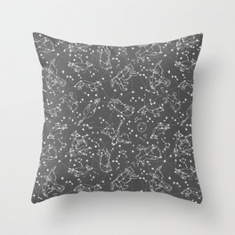 Constellations animal constellations stars outer space night sky pattern by andrea lauren grey Throw Pillow