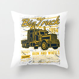 Big Truck Iron and Wheels Throw Pillow
