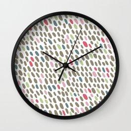 Abstract Dots Pattern Pastel Grey, Pink, Blue, Green Wall Clock