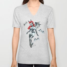Vampire Bat Pinup Girl Unisex V-Neck