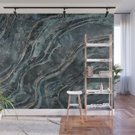 Teal Green Gemstone Marble Mix Wall Mural
