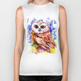 Owl Who Loves Bluebell Flowers, Owl art, Bright colored Owl design Biker Tank