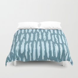 Vertical Dash Turquoise on Teal Blue Duvet Cover