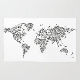 Kanji Calligraphy World Map Rug