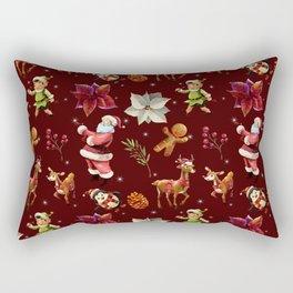 Joyful Christmas Santa Elfs Deers Rectangular Pillow