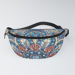Blue dot art mandala Fanny Pack