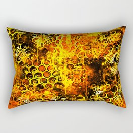 bees fill honeycombs in hive splatter watercolor Rectangular Pillow