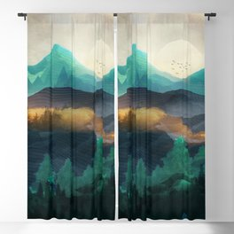 Green Wild Mountainside Blackout Curtain
