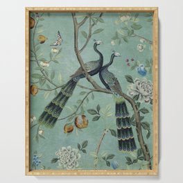 A Teal of Two Birds Chinoiserie Serving Tray