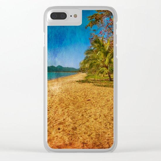 restful beach view Clear iPhone Case