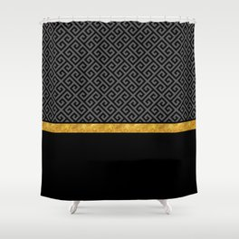 Chic Black Gray Greek Key Gold Border Shower Curtain