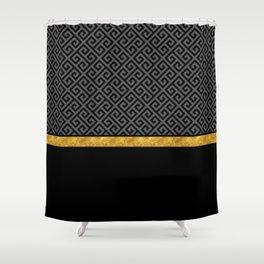 Chic Black Gray Greek Key Gold Border Shower Curtain