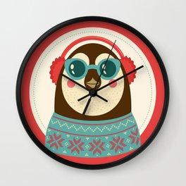 Holiday Hipster Pinguin Wall Clock