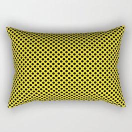 Blazing Yellow and Black Polka Dots Rectangular Pillow