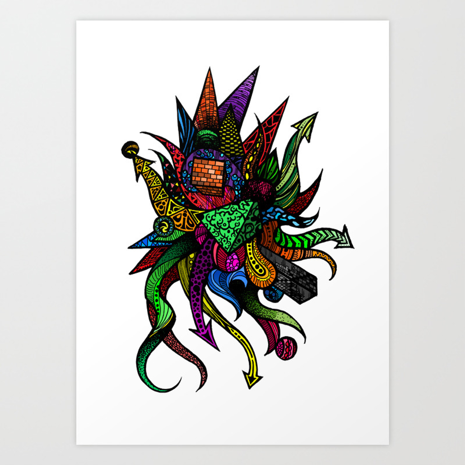 Colorful Abstract Drawing With Arrows Shapes Art Print