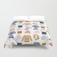 knitting Duvet Covers featuring Knitting by Holly Dunn Design