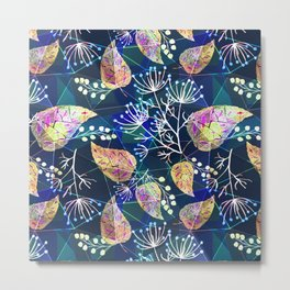Abstract floral pattern .Colorful leaves and flowers on a blue green . Metal Print