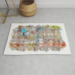 Houses in Amsterdam with reflections on the water, Netherlands Rug