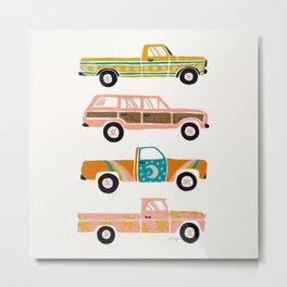 Retro Roads – White Metal Print