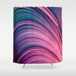 Dream Fiber II. Abstract Blue, Pink, Orange Strands Shower Curtain