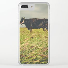 Texas Cow in the Grass Clear iPhone Case