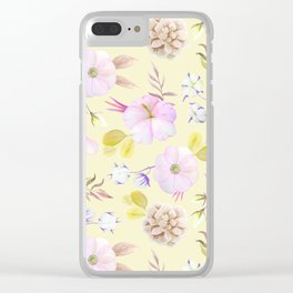 Modern hand painted pink lavender yellow watercolor floral Clear iPhone Case