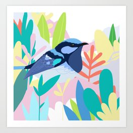 Superb Fairy-Wren Bird in the Garden Art Print