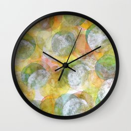 Silver Green Yellow Circles Wall Clock