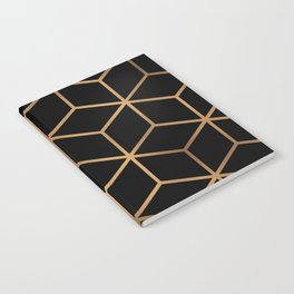 Black and Gold - Geometric Cube Design Notebook