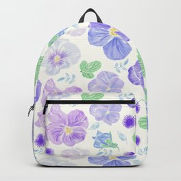 Seamless floral pattern with blue  viola flowers Backpack
