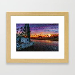 Beaufort North Carolina Grunge Sunset Framed Art Print