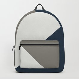 Blue Grey White Abstract Geometric Art Backpack