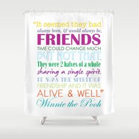 winnie the pooh Shower Curtains featuring Winnie the Pooh Friendship Quote - Bright Colors by Jaydot Creative