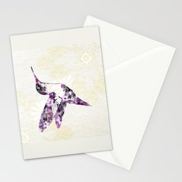 Purple Hummingbird Art Stationery Cards