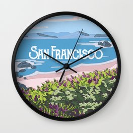 San Francisco, California Beach Succulents Illustration Wall Clock