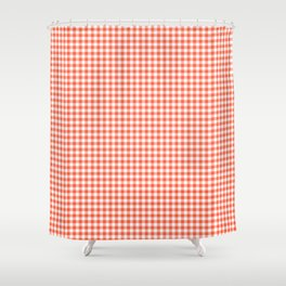 Small Living Coral Orange and White Buffalo Check Plaid Shower Curtain
