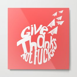 Give Thanks White Doodle Metal Print