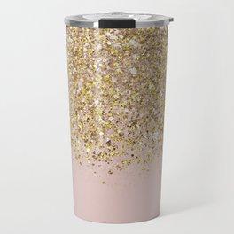 Pink and Gold Glitter Travel Mug