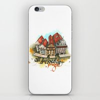 prague iPhone & iPod Skins featuring Prague by Hande Unver