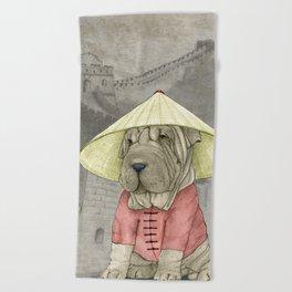 Shar Pei on the Great Wall Beach Towel