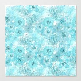 Turquoise aqua flower lace pattern Canvas Print