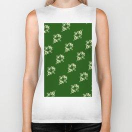 Canalflowers on green pattern Biker Tank