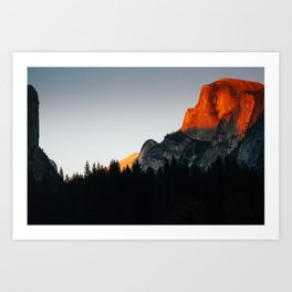 Last Light at Half Dome  Art Print