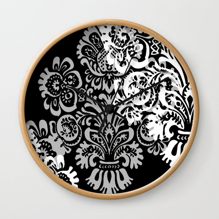 Black and Gray Damask Wall Clock