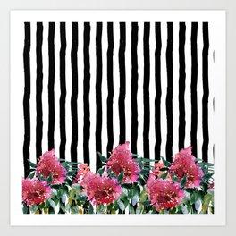 Black white brushstrokes pink watercolor floral stripes Art Print