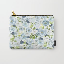 Blue Watercolor Floral Print, Hand-Painted Flowers, Slate Blue, Roses, Romantic Bouquet, Carry-All Pouch