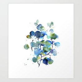 Leaves in blue and green Art Print