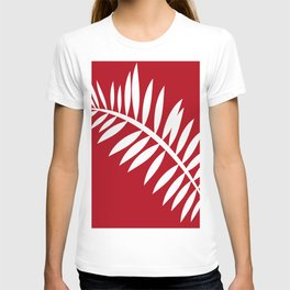 PALM LEAF RED AND WHITE PATTERN T-shirt