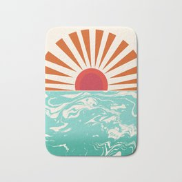 Keepin' It Real - retro 70s vibes throwback ocean sunset sunrise socal surfing beach life 1970's Bath Mat