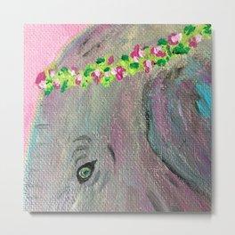 Flower Crown Elephant Metal Print